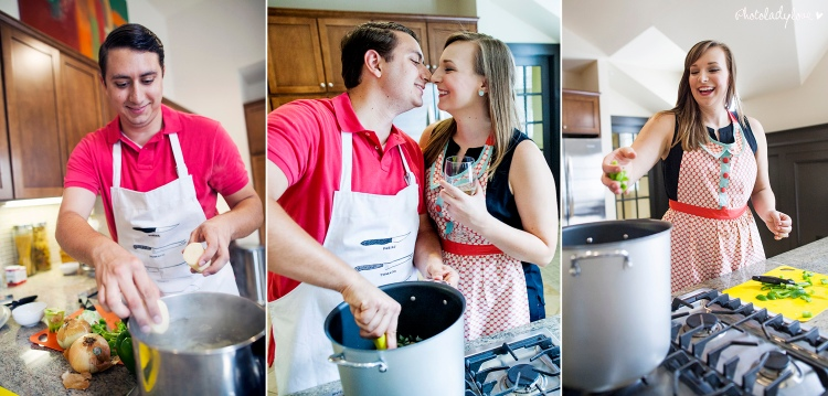 cooking, engagement session, gnocchi