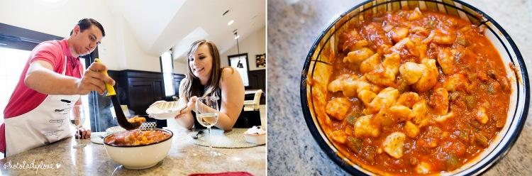 cooking, engagement session, gnocchi